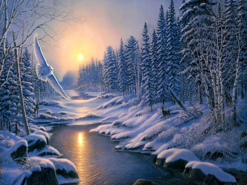 Пазл Собирать пазлы онлайн - Закат зимы
