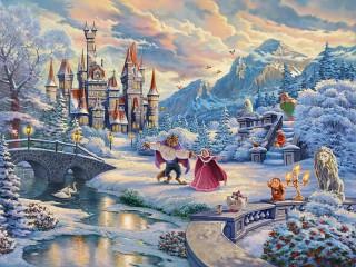 Собирать пазл Замок Чудовища зимой онлайн