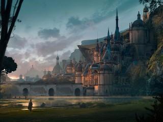 Собирать пазл Замок на склоне онлайн