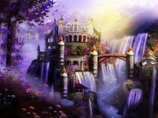 Собирать пазл Замок на водопадах онлайн
