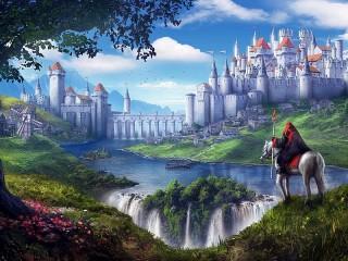 Собирать пазл Замок на водопаде онлайн