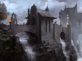 Собирать пазл Замок над водопадами онлайн