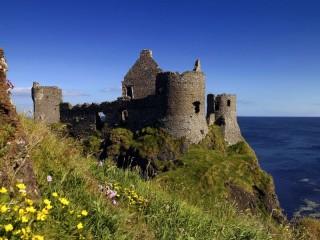 Собирать пазл Замок цветы море онлайн