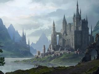 Собирать пазл Замок у воды онлайн
