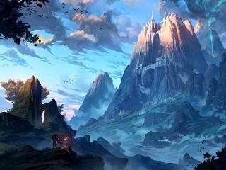 Собирать пазл Замок в горе онлайн