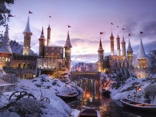 Собирать пазл Заснеженный замок онлайн