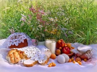 Собирать пазл Завтрак на траве онлайн