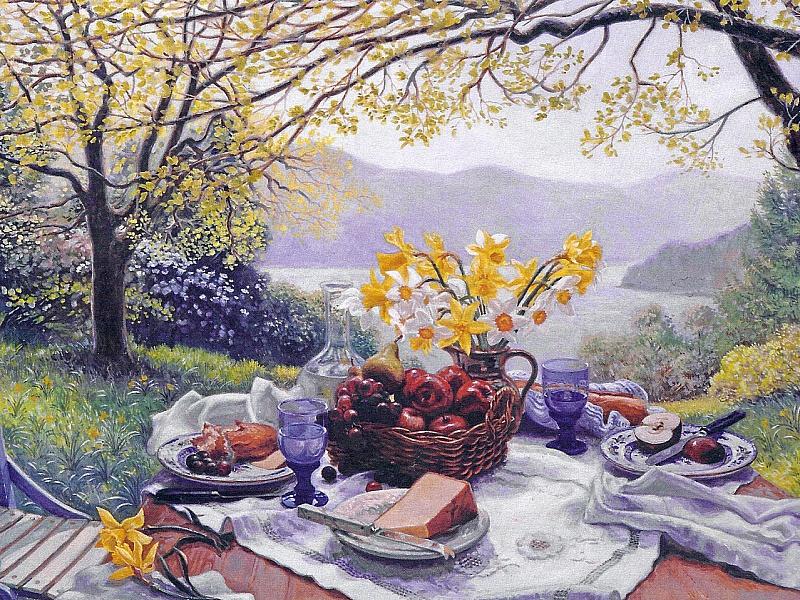 Открытки завтрак в саду, для оформления