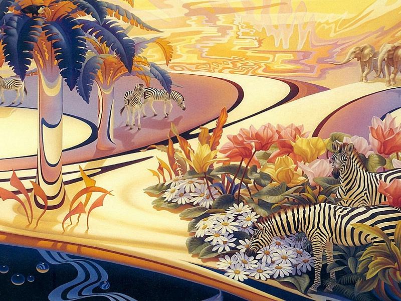 Пазл Собирать пазлы онлайн - Зебры и слоны