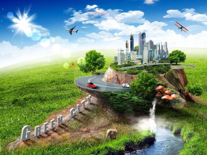Пазл Собирать пазлы онлайн - Зеленый город