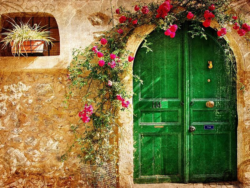 Пазл Собирать пазлы онлайн - Зелёная дверь