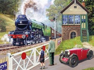 Собирать пазл Железнодорожный переезд онлайн