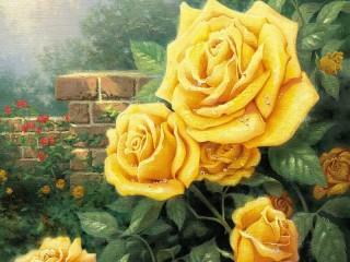 Собирать пазл Желтые розы онлайн