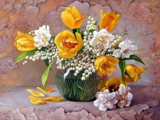 Собирать пазл Желтые тюльпаны онлайн