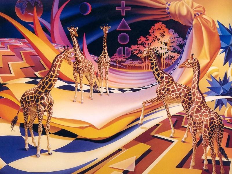 Пазл Собирать пазлы онлайн - Жирафы
