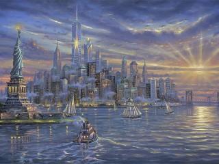 Собирать пазл Живописный Нью-Йорк онлайн
