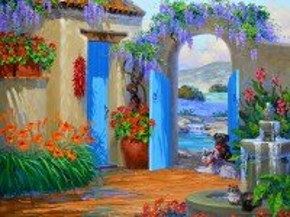 Собирать пазл Живописный дворик онлайн