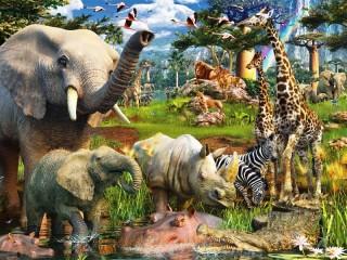 Собирать пазл Животные Африки онлайн