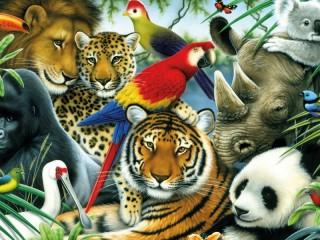 Собирать пазл Животные и птицы онлайн