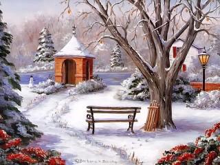 Собирать пазл Зима дерево лавочка онлайн