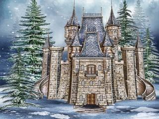 Собирать пазл Зима и замок онлайн