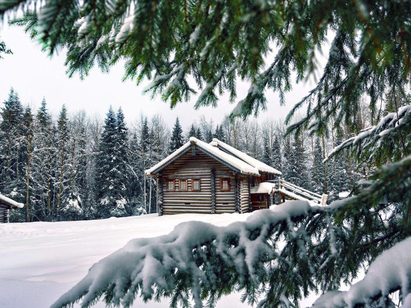 Пазл Собирать пазлы онлайн - Зима избушка