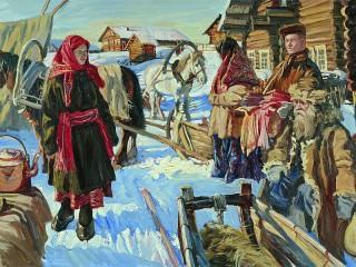 Собирать пазл Зима в деревне онлайн