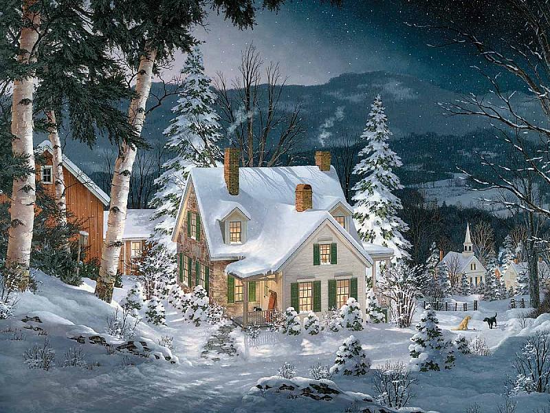 Пазл Собирать пазлы онлайн - Зима в деревне