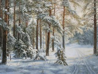 Собирать пазл Зима в лесу онлайн