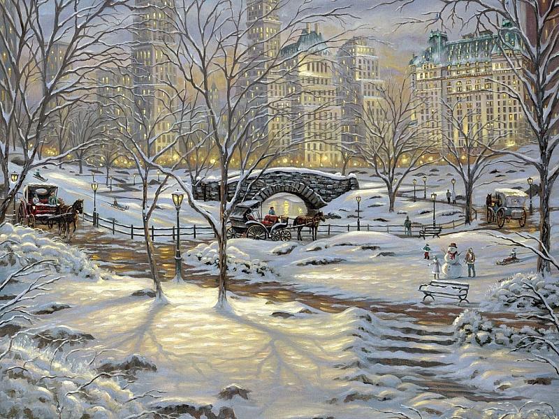 Пазл Собирать пазлы онлайн - Зима в Нью-Йорке