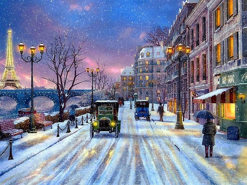 Пазл Собирать пазлы онлайн - Зима в Париже