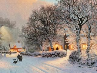 Собирать пазл Зима в посёлке онлайн