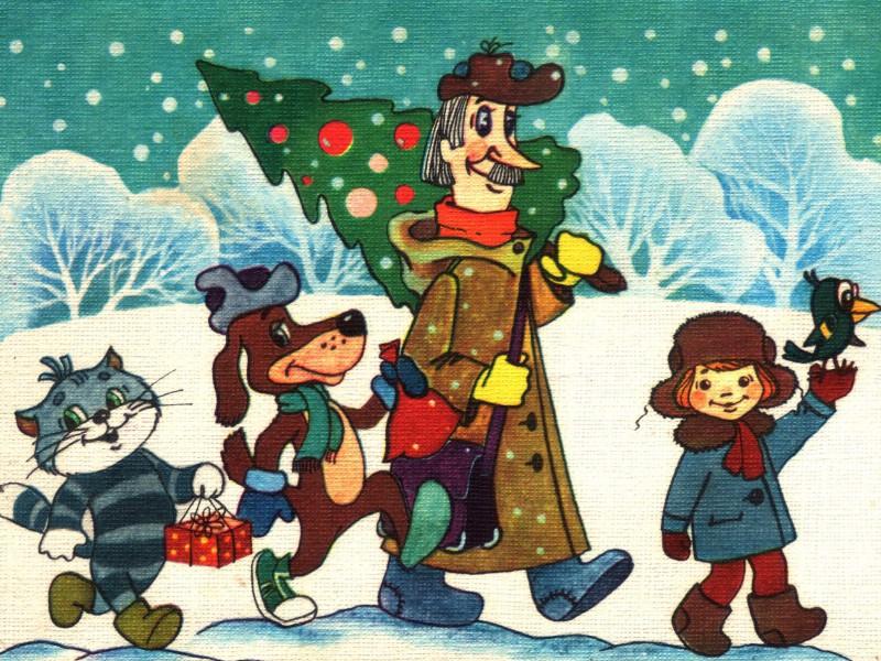 Пазл Собирать пазлы онлайн - Зима в Простоквашино