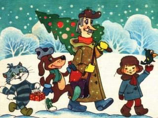 Собирать пазл Зима в Простоквашино онлайн