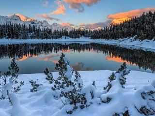 Собирать пазл Зимнее озеро онлайн