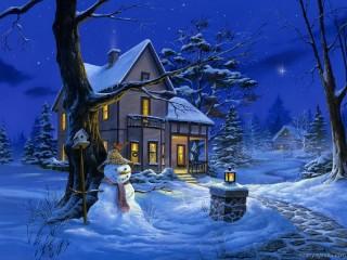 Собирать пазл Зимние домики онлайн