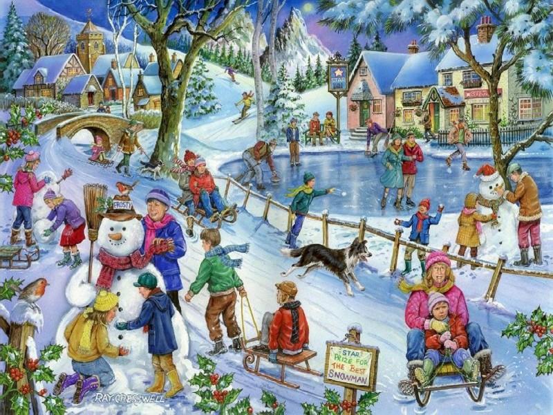 Пазл Собирать пазлы онлайн - Зимние развлечения