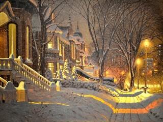 Собирать пазл Зимние сумерки онлайн