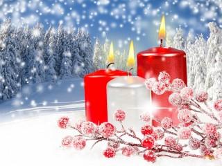 Собирать пазл Зимние свечи онлайн
