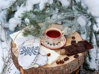 Собирать пазл Зимний чай онлайн