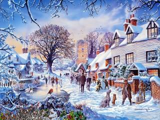 Собирать пазл Зимний городок онлайн