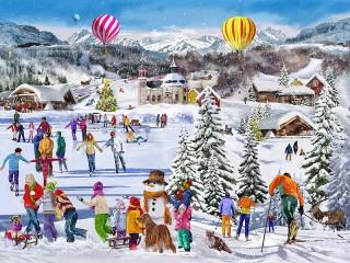 Собирать пазл Зимний отдых онлайн