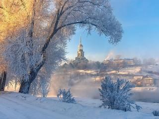 Собирать пазл Зимний пейзаж онлайн