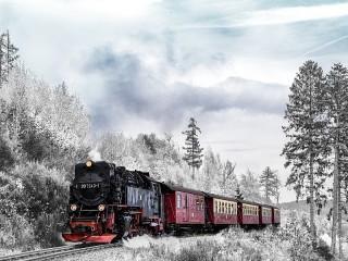 Собирать пазл Зимний поезд онлайн