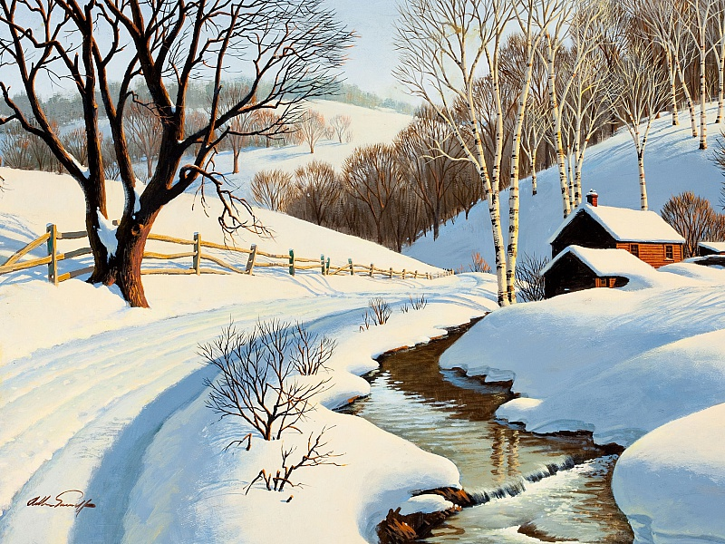 Пазл Собирать пазлы онлайн - Зимний пейзаж