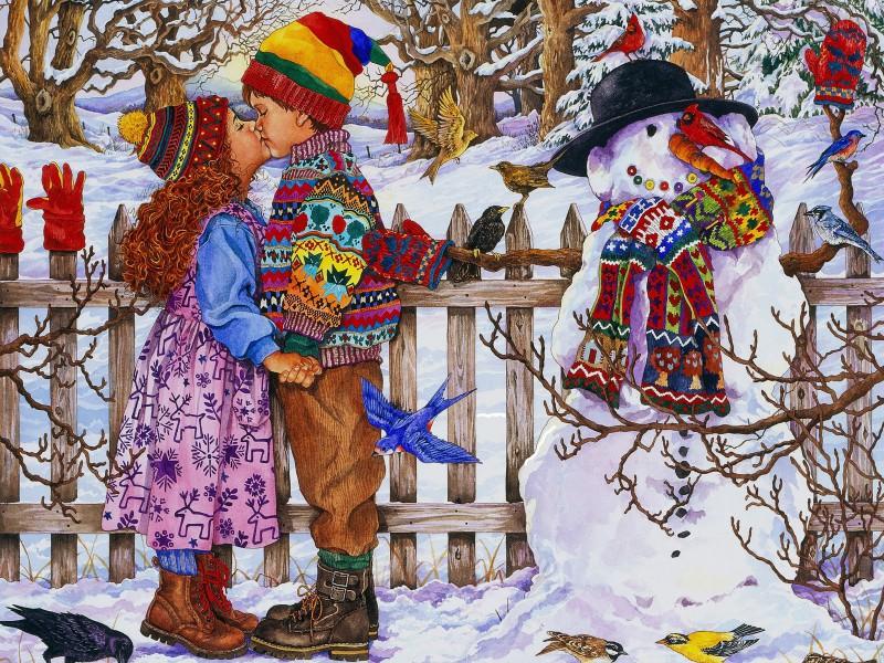 Пазл Собирать пазлы онлайн - Зимний поцелуй