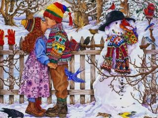Собирать пазл Зимний поцелуй онлайн
