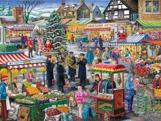 Собирать пазл Зимний рынок онлайн