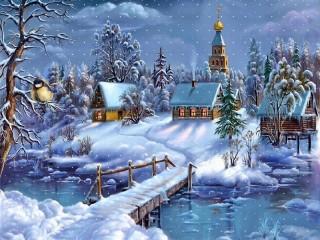 Собирать пазл Зимний вечер онлайн