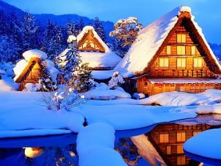 Собирать пазл Зимняя деревушка онлайн
